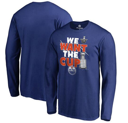 Edmonton Oilers Fanatics Branded 2017 NHL Stanley Cup Playoff Participant Blue Line Long Sleeve T Shirt Royal
