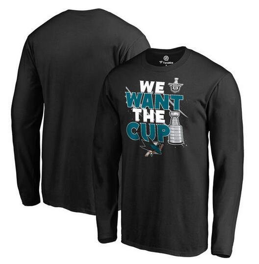 San Jose Sharks Fanatics Branded 2017 NHL Stanley Cup Playoff Participant Blue Line Long Sleeve T Shirt Black