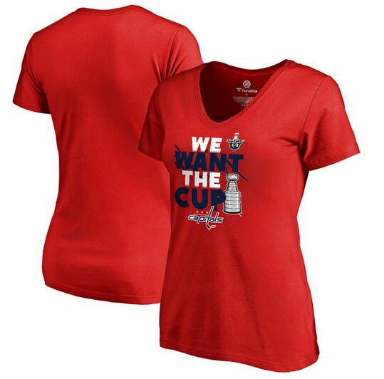 Washington Capitals Fanatics Branded Women's 2017 NHL Stanley Cup Playoff Participant Blue Line Slim Fit V Neck T Shirt Red