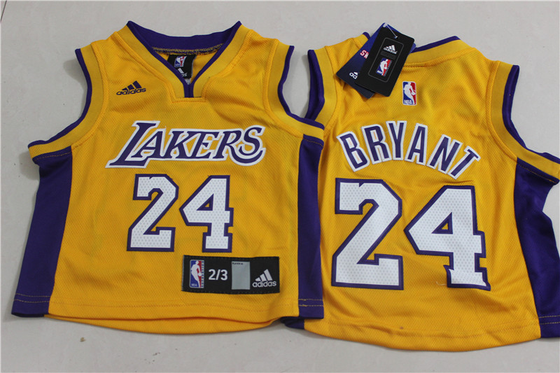 Lakers 24 Kobe Bryant Yellow Toddler Jersey