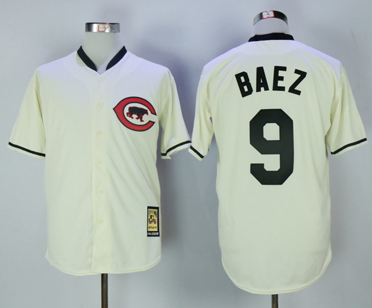 Cubs 9 Javier Baez Cream Throwback Jersey