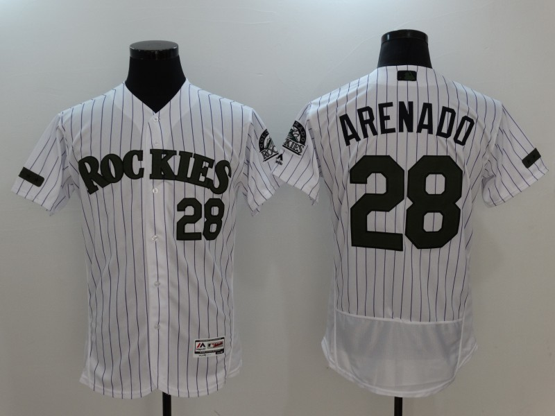 Rockies 28 Nolan Arenado White 2017 Memorial Day Flexbase Jersey