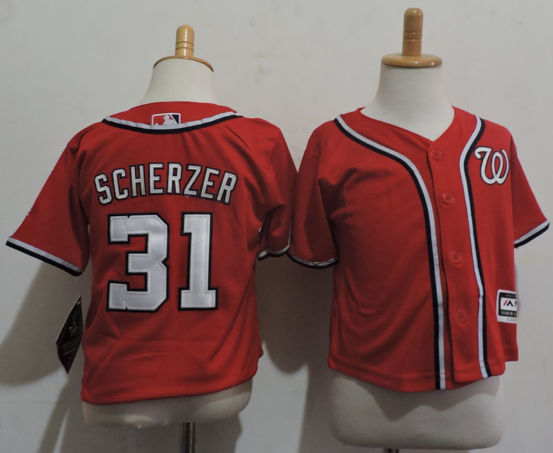 Nationals 31 Max Scherzer Red Toddler Cool Base Jersey