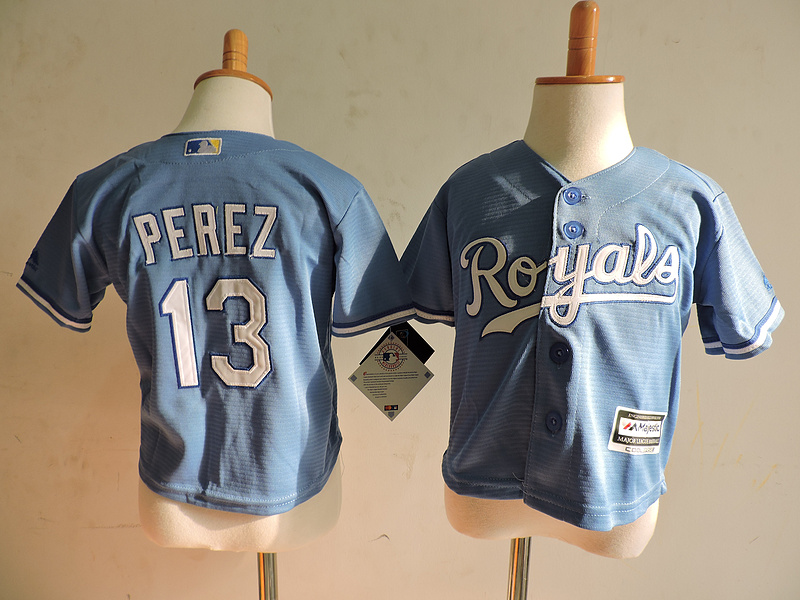 Royals 13 Salvador Perez Light Blue Toddler Cool Base Jersey