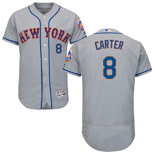 Mets 8 Gary Carter Gray Flexbase Jersey