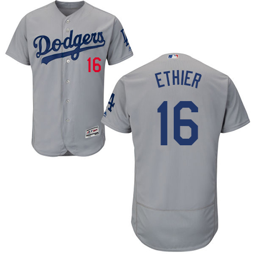 Dodgers 16 Andre Ethier Gray Flexbase Jersey