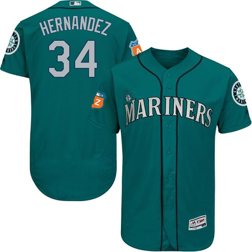 Mariners 34 Felix Hernandez Green Flexbase Jersey