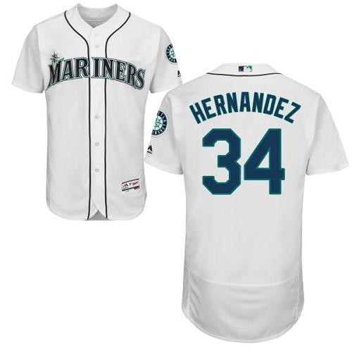 Mariners 34 Felix Hernandez White Flexbase Jersey