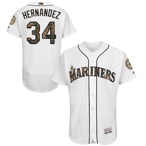 Mariners 34 Felix Hernandez White Memorial Day Flexbase Jersey