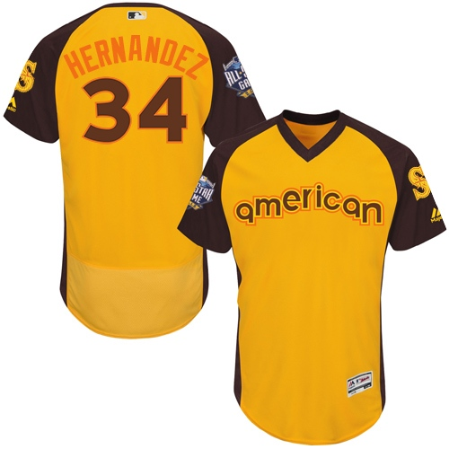 Mariners 34 Felix Hernandez Yellow 2016 MLB All Star Game Flexbase Batting Practice Player Jersey