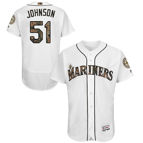 Mariners 51 Randy Johnson White Memorial Day Flexbase Jersey