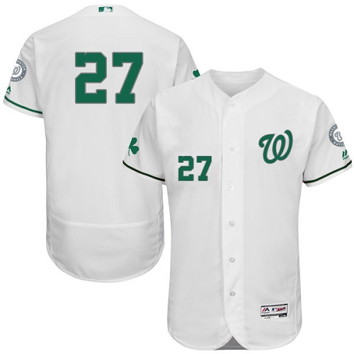 Nationals 27 Shawn Kelley White St. Patrick's Day Flexbase Jersey