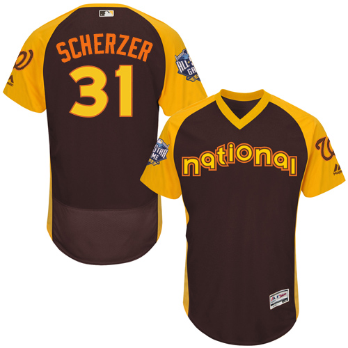 Nationals 31 Max Scherzer Brown 2016 MLB All Star Game Flexbase Batting Practice Player Jersey