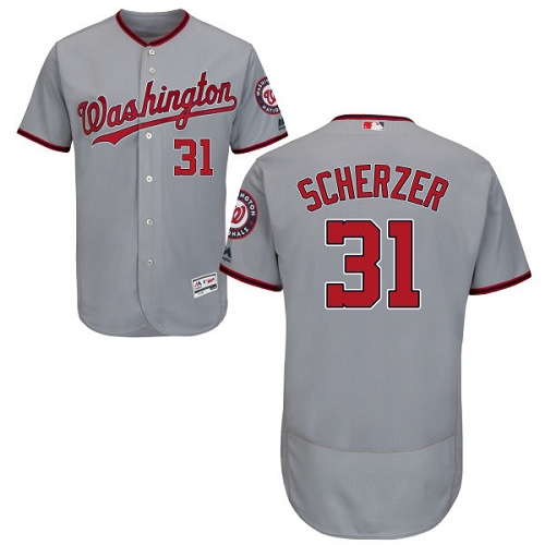 Nationals 31 Max Scherzer Gray Flexbase Jersey