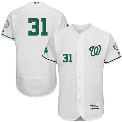 Nationals 31 Max Scherzer White St. Patrick's Day Flexbase Jersey