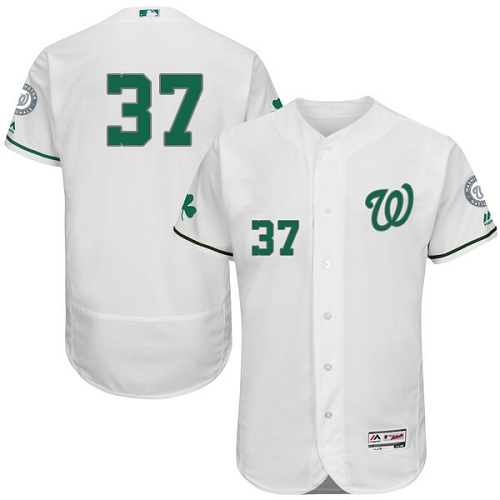 Nationals 37 Stephen Strasburg White St. Patrick's Day Flexbase Jersey