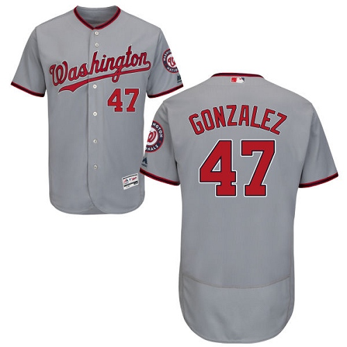 Nationals 47 Gio Gonzalez Gray Flexbase Jersey