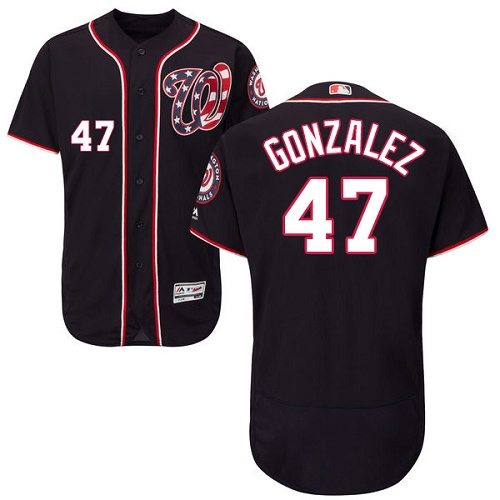 Nationals 47 Gio Gonzalez Navy Flexbase Jersey