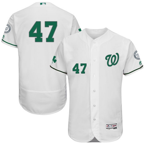 Nationals 47 Gio Gonzalez White St. Patrick's Day Flexbase Jersey