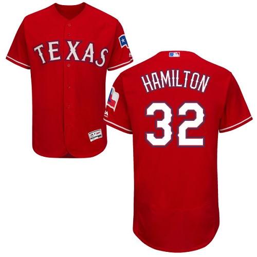 Rangers 32 Josh Hamilton Red Flexbase Jersey