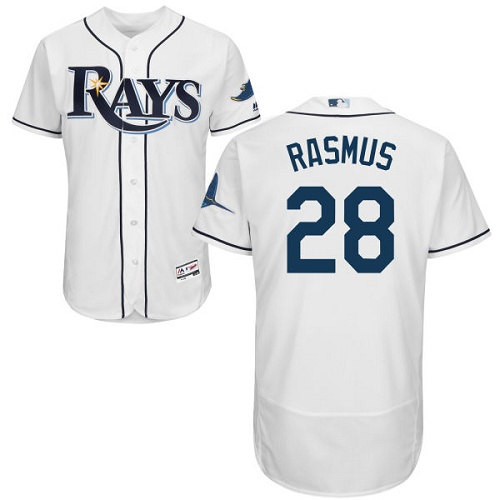 Rays 28 Colby Rasmus White Flexbase Jersey