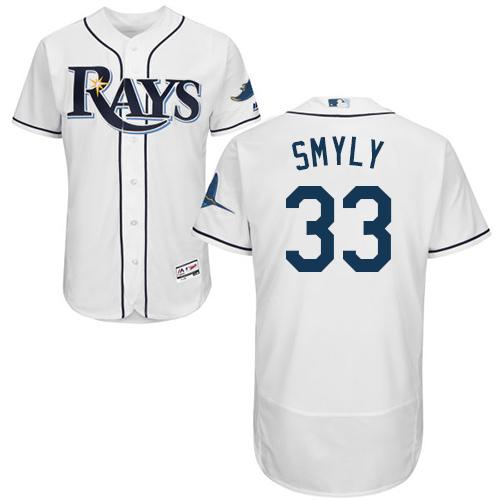 Rays 33 Drew Smyly White Flexbase Jersey
