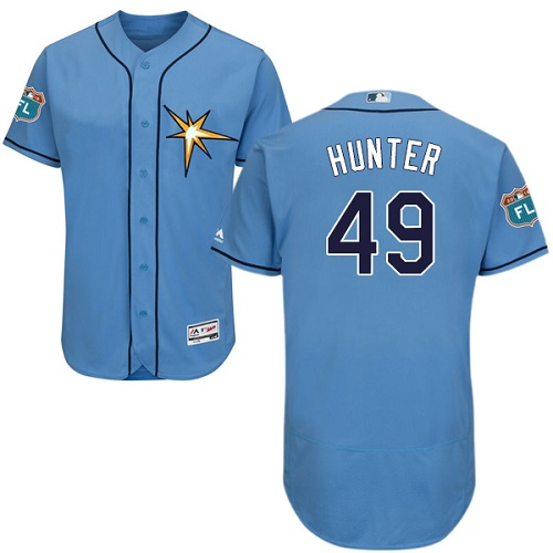 Rays 49 Tommy Hunter Light Blue Flexbase Jersey