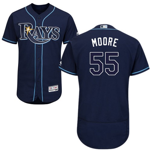 Rays 55 Matt Moore Light Navy Flexbase Jersey