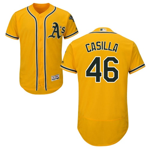 Athletics 46 Santiago Casilla Yellow Flexbase Jersey