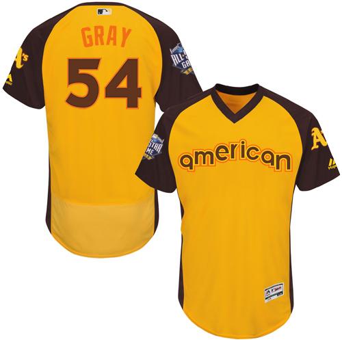 Athletics 54 Sonny Gray Yellow 2016 MLB All Star Game Flexbase Batting Practice Player Jersey