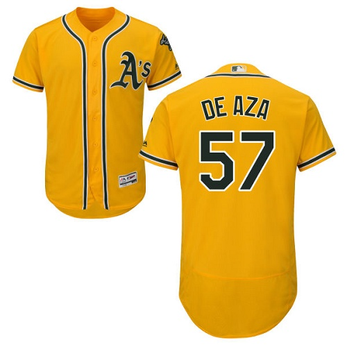 Athletics 57 Alejandro De Aza Yellow Flexbase Jersey