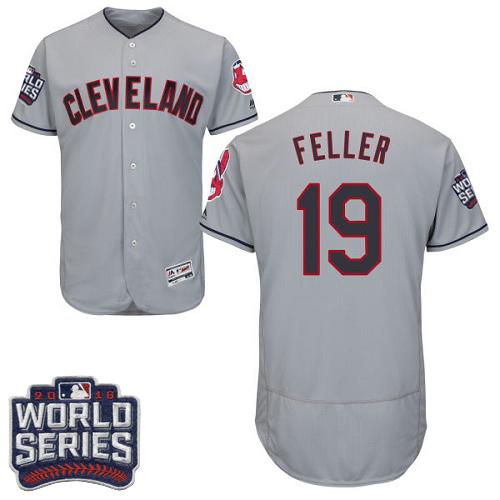 Indians 19 Bob Feller Gray 2016 World Series Flexbase Jersey