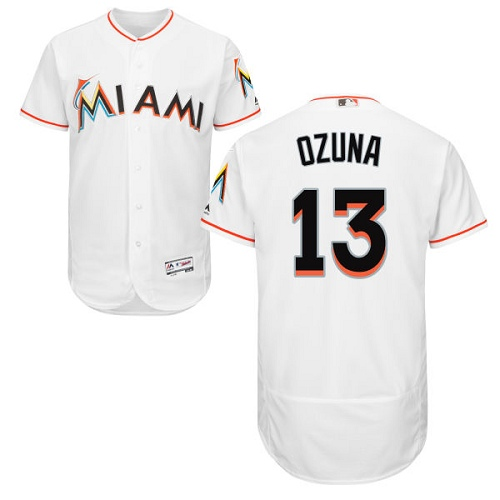 Marlins 13 Marcell Ozuna White Flexbase Jersey