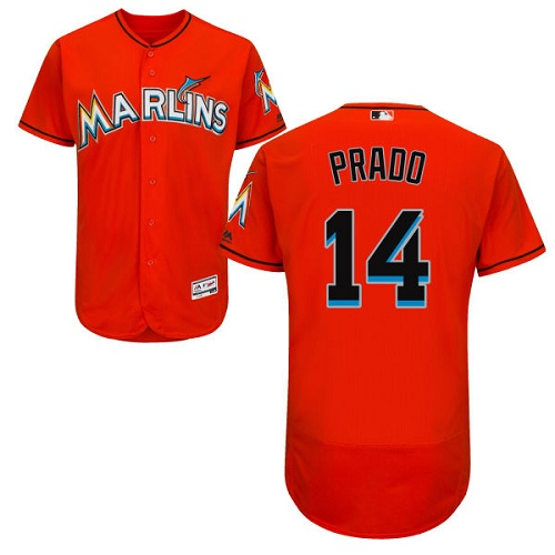 Marlins 14 Martin Prado Orange Flexbase Jersey