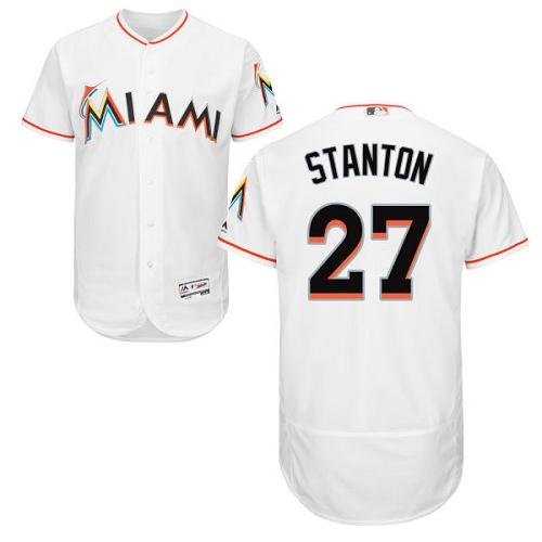 Marlins 27 Giancarlo Stanton White Flexbase Jersey