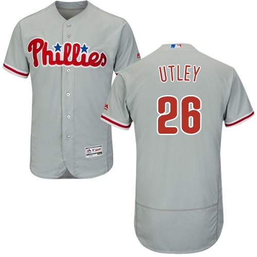 Phillies 26 Chase Utley Gray Flexbase Jersey