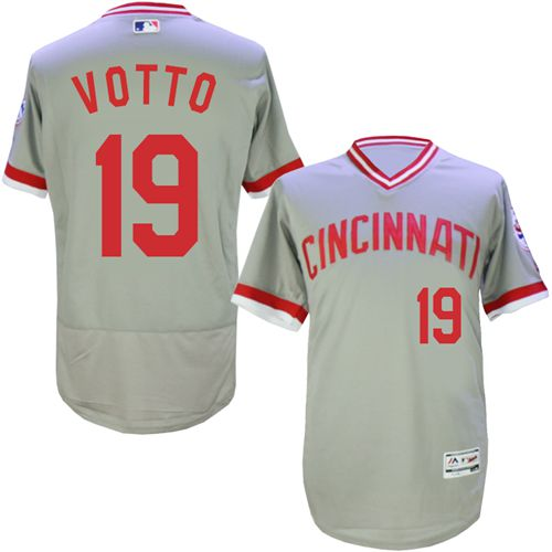 Reds 19 Joey Votto Gray Cooperstown Collection Flexbase Jersey