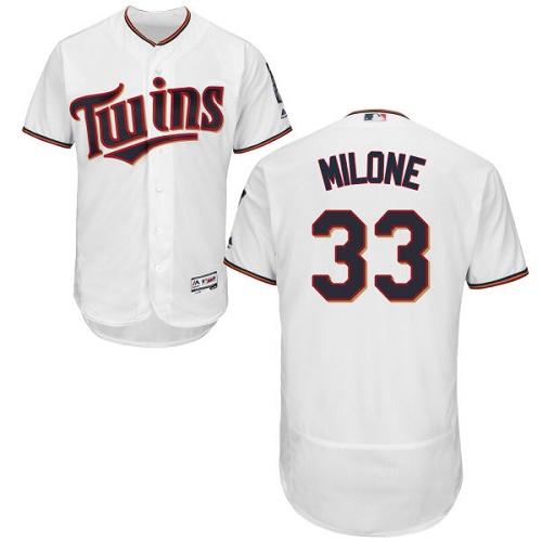 Twins 33 Tommy Milone White Flexbase Jersey
