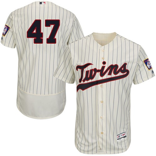 Twins 47 Ricky Nolasco Cream Flexbase Jersey