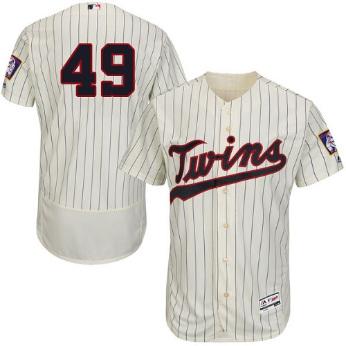 Twins 49 Kevin Jepsen Cream Flexbase Jersey