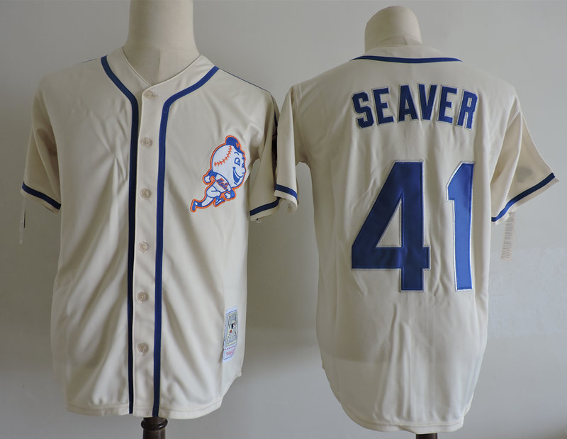 Mets 41 Tom Seaver Cream Cooperstown Collection Jersey