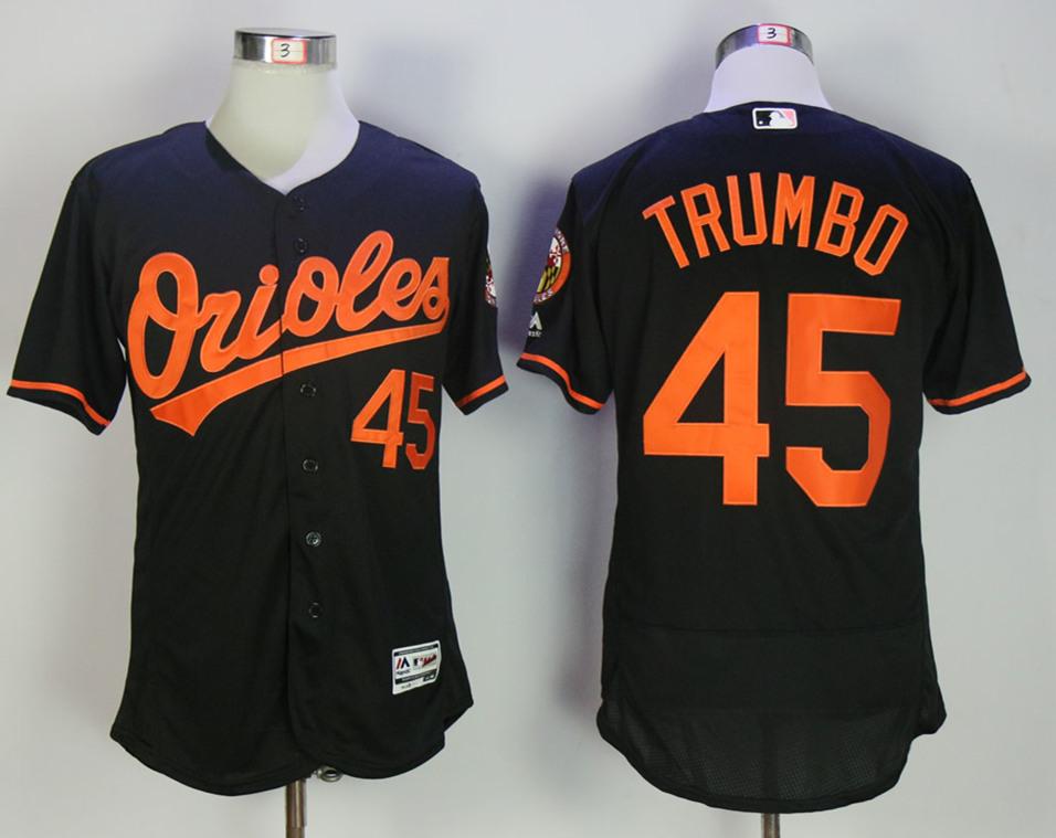 Orioles 45 Mark Trumbo Black Flexbase Jersey