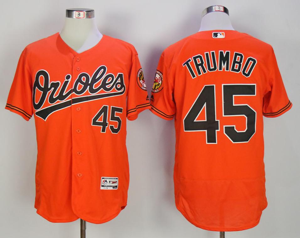 Orioles 45 Mark Trumbo Orange Flexbase Jersey