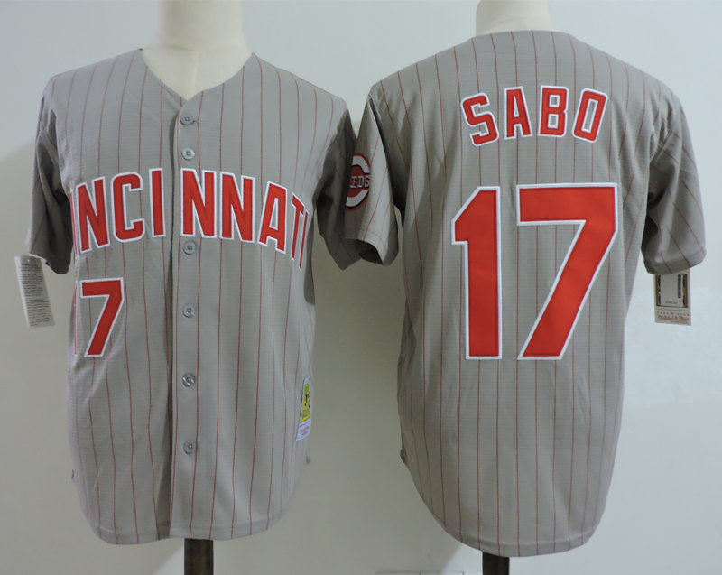 Reds 17 Chris Sabo Gray Cooperstown Collection Jersey