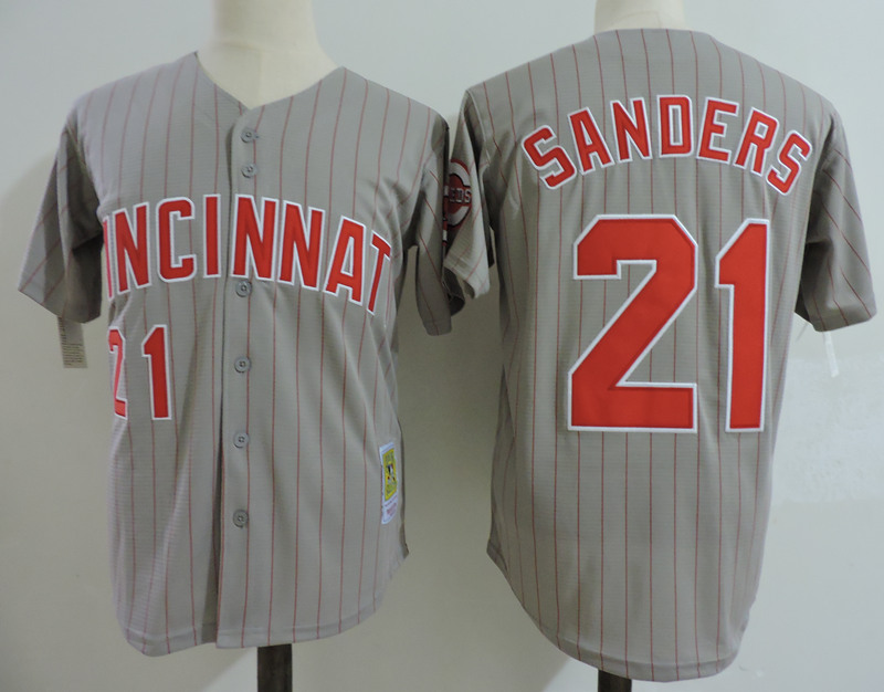 Reds 21 Reggie Sanders Gray Cooperstown Collection Jersey
