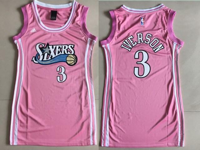 76ers 3 Allen Iverson Pink Women Swingman Jersey