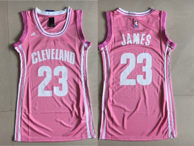 Cavaliers 23 LeBron James Pink Women Swingman Jersey