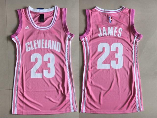 Cavaliers 23 LeBron James Pink Women Swingman Jersey