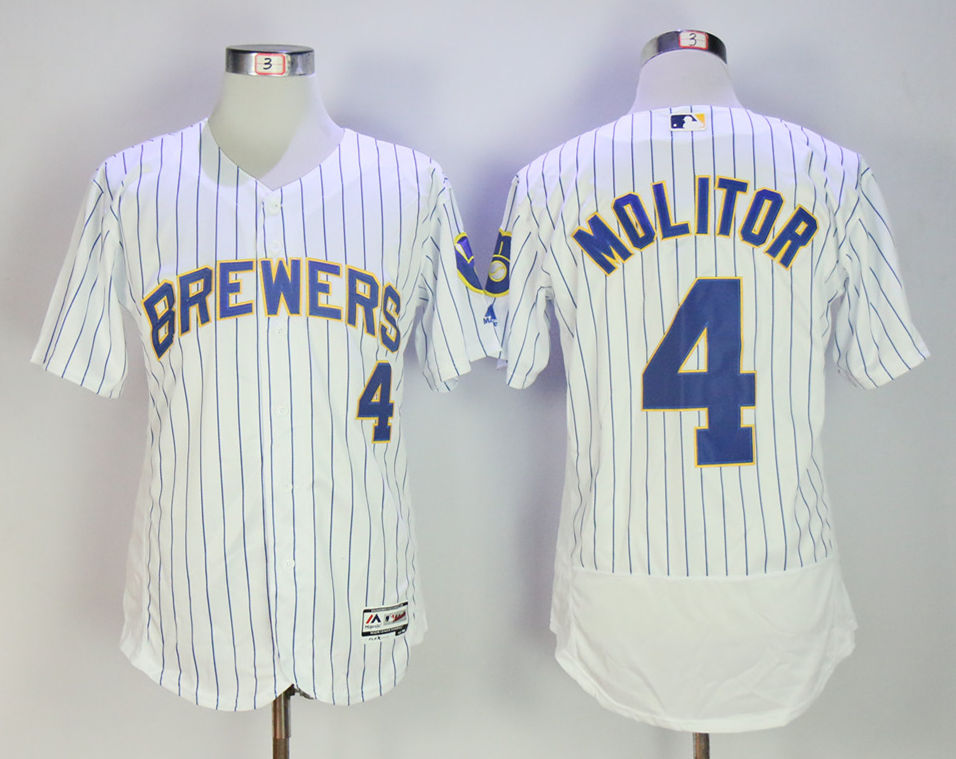 Brewers 4 Paul Molitor White Flexbase Jersey