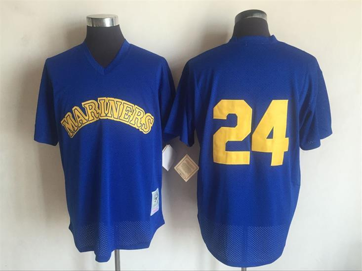 Mariners 24 Ken Griffey Jr. Blue Cooperstown Collection Batting Practice Jersey